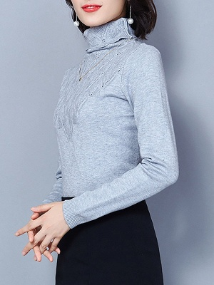 Sheath Turtleneck Long Sleeve Casual Embossed Sweater_7
