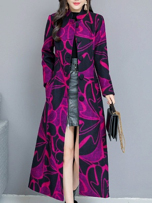 Rose Shift Casual Long Sleeve Printed Stand Collar Coat_1