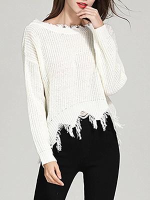 Shift Long Sleeve Bateau/boat neck Casual Fringed Sweater_1