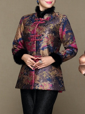 Paneled Crinkled Fluffy Buttoned  Printed Coat_2