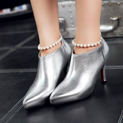 Silver Zipper Daily Elegant Stiletto Heel Pointed Toe Boots_6