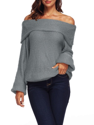 Casual Off Shoulder Solid Knitted Balloon Sleeve Sweater_9