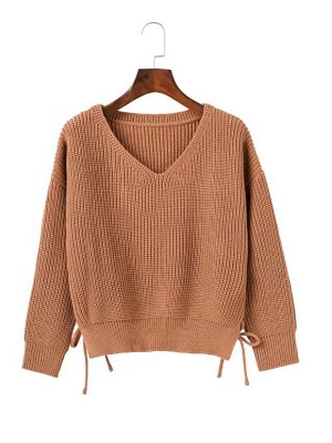 Cotton Casual Crew Neck Long Sleeve Shift Sweater_1