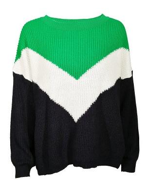 Green Crew Neck Casual Sweater_7