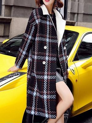 Black Color-block Long Sleeve Shawl Collar Coat_6