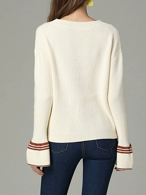 Cutout Casual Bell Sleeve Keyhole Sweater_4