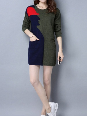 Casual Graphic Long Sleeve Color-block Sweater_4