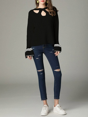 Cutout Casual Bell Sleeve Keyhole Sweater_2