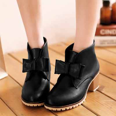 Daily Chunky Heel Bowknot Round Toe Elegant Boots_2