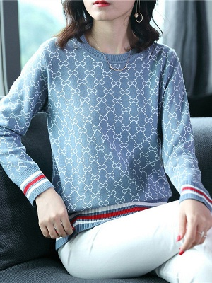 Casual Long Sleeve Geometric Printed Shift Sweater_4