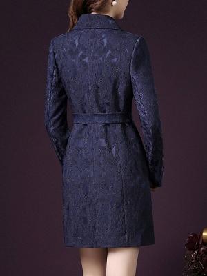 Blue Long Sleeve Blouson Buttoned Work Coat_3
