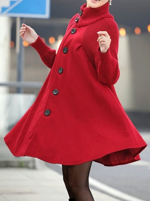 Casual Long Sleeve Turtle Neck A-line Solid Buttoned Paneled Coat_10