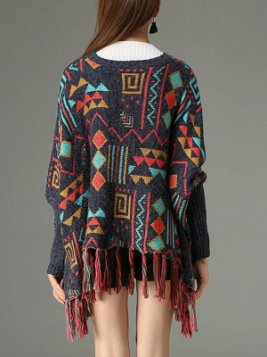 Multicolor Geometric Long Sleeve Casual Fringed Sweater_3