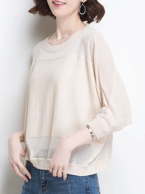Casual Crew Neck Batwing Ice Yarn Knitted Shift Sweater_12