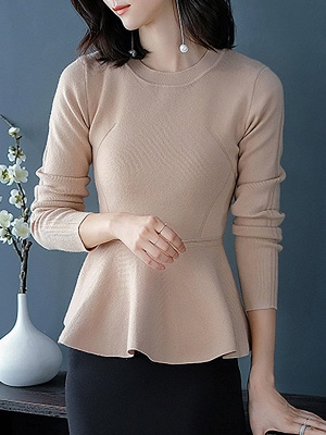 Ruffled Solid Long Sleeve Crew Neck Casual Sweater_2