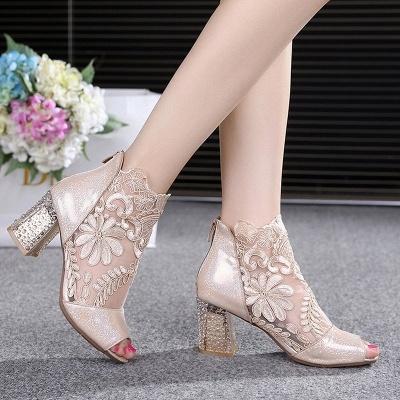 Romantic  Mesh Chunky Heels_9