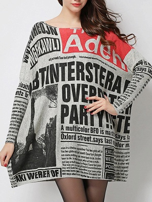 Printed Casual Long Sleeve Letter Wool Sweater_5