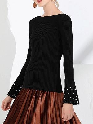 Frill Sleeve Casual Bateau/boat neck Sheath Sweater_5