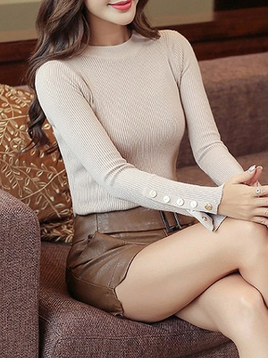 Long Sleeve Sheath Solid Ribbed Casual Sweater_1
