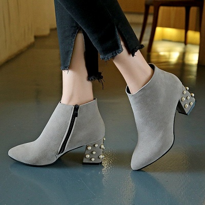 Suede Winter Chunky Heel Beading Pointed Toe Boot_4
