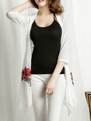 Floral Embroidered Casual 3/4 Sleeve Asymmetric Coat_1