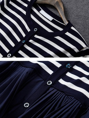 Royal blue Striped Long Sleeve Shift Sweater_5