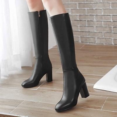 Zipper Chunky Heel Daily Round Toe Elegant Boots_5