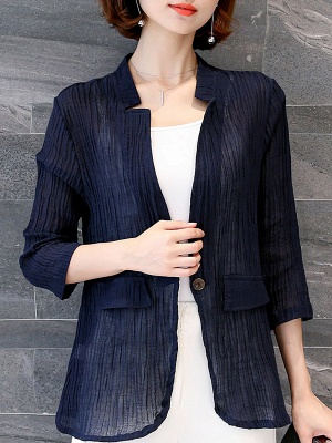 Navy Blue Pleated Casual Pockets 3/4 Sleeve Solid Coat_1