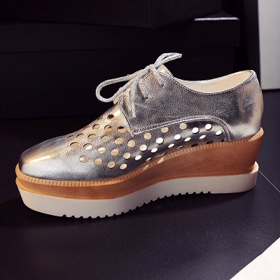 Hollow-out Lace-up Wedge Creepers_15