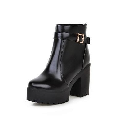 Daily PU Chunky Heel Round Toe Elegant Boots_8