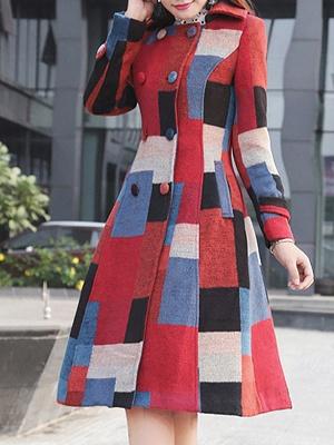 Multicolor Buttoned Color-block Pockets Coat_4