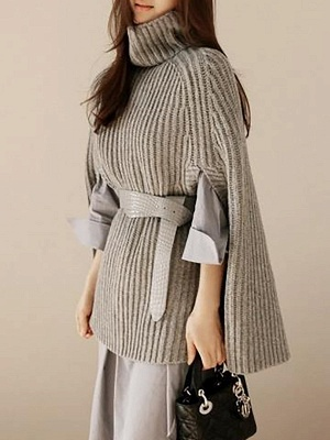 Geometric Ribbed Casual Cape Sleeve Turtleneck Sweater_3