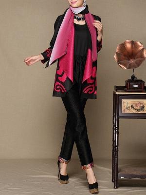 Rose Shawl Collar Long Sleeve Asymmetrical Crinkled Color-block Coat_4