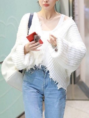 Dark blue Fringed Casual Cotton Batwing Sweater_5
