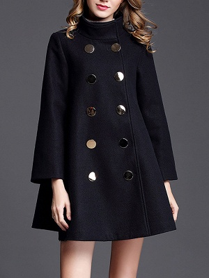 Navy Blue Shift Shawl Collar Buttoned Pockets Coat_1