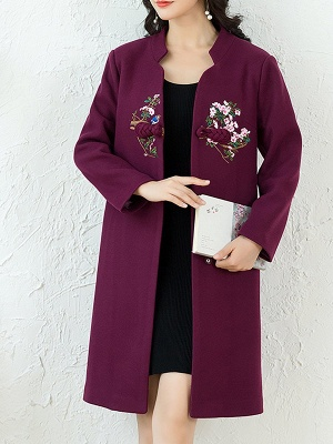 Floral Embroidered Stand Collar Shift Coats_2