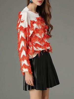 Orange Long Sleeve Sheath Crew Neck Sweater_6