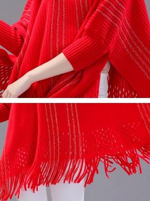 Shift Wool Batwing Casual Geometric Sweater_10