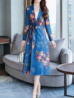 Floral Shawl Collar A-line Floral-print Pockets Long Sleeve Coat_9