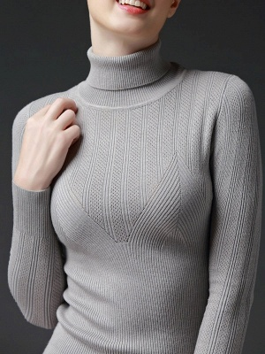 Long Sleeve Knitted Casual Sweater_5