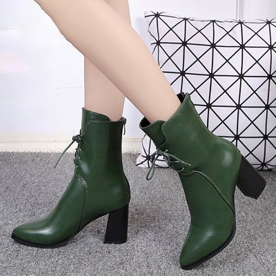 Lace-up Chunky Heel Daily Pointed Toe Elegant Boots_5