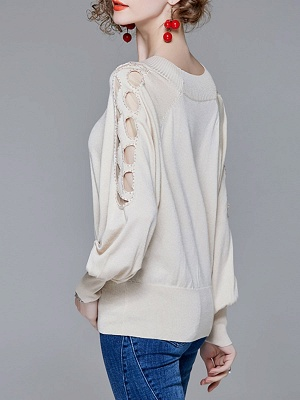 Crew Neck Batwing Casual Sweater_6