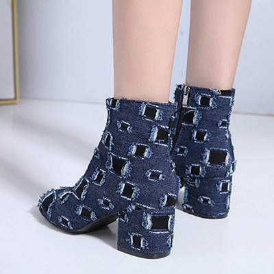 Daily Hollow-out Chunky Heel Round Toe Boots_3