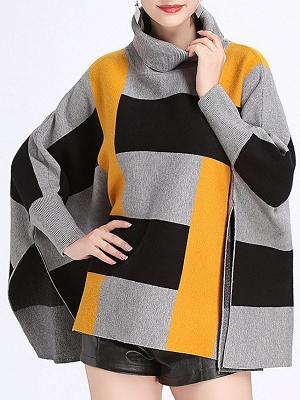 Elegant Shift Batwing Color-block Sweater_10