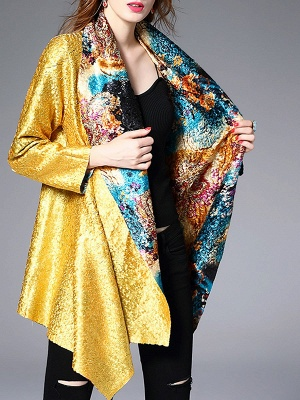 Green Casual Shawl Collar Asymmetrical Abstract Crinkled Coat_6
