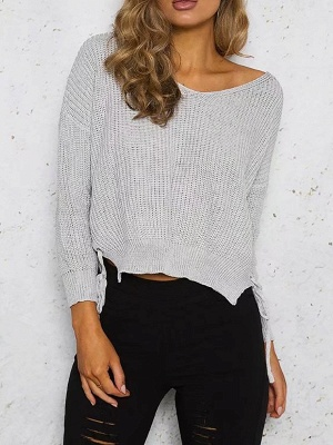 Cotton Casual Crew Neck Long Sleeve Shift Sweater_2