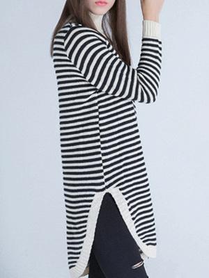 Beige Long Sleeve Turtleneck Stripes Sweater_3