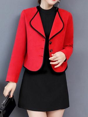 Long Sleeve Work Shawl Collar Coat_1