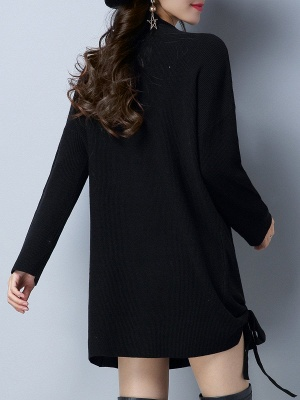 Long Sleeve Casual Stand Collar Knot Front Sweaters_6