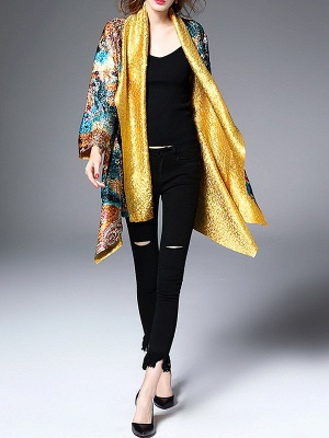 Green Casual Shawl Collar Asymmetrical Abstract Crinkled Coat_4